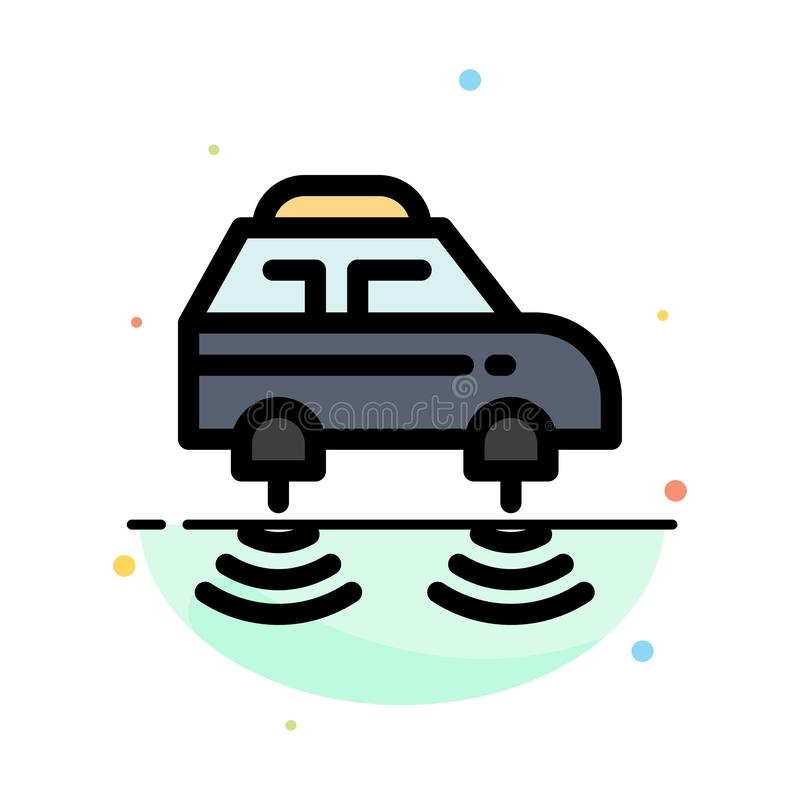 Car, Electric, Network, Smart, wifi Abstract Flat Color Icon Template vector illustration