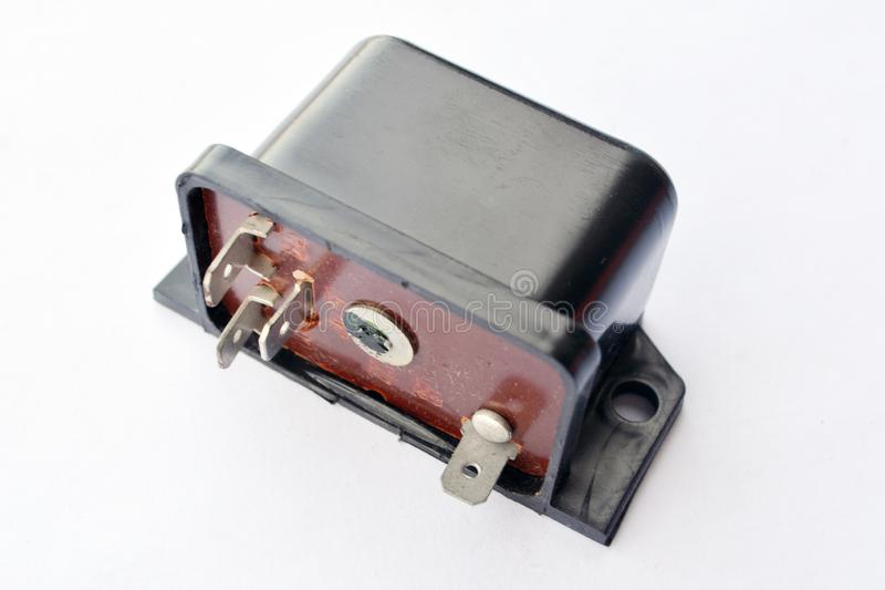 Car electromagnetic relay isolated on. White background stock photography