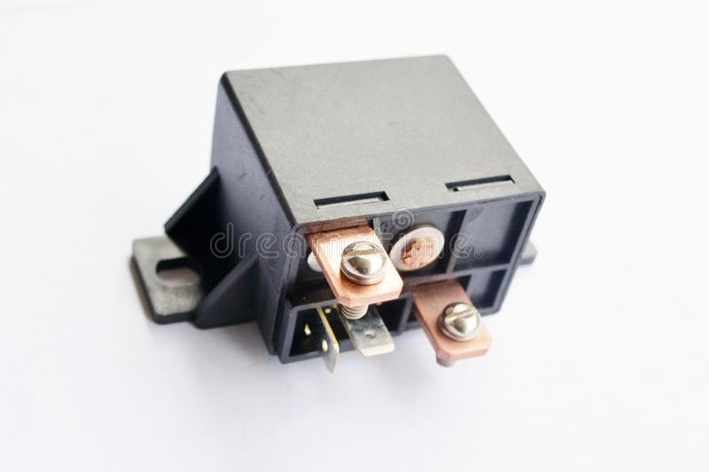 Car electromagnetic relay isolated on. White background royalty free stock image