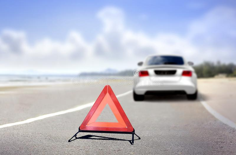Car emergency stop at road side stock images