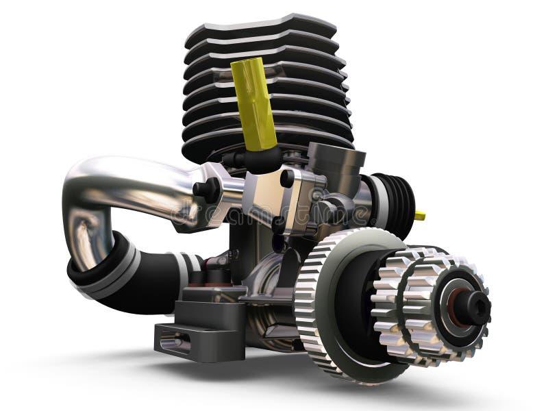 Car engine. 3D render of a car engine vector illustration