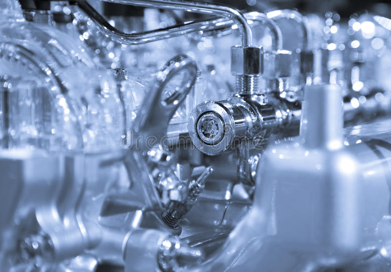 Car engine. Complex car engine with lots of details stock image