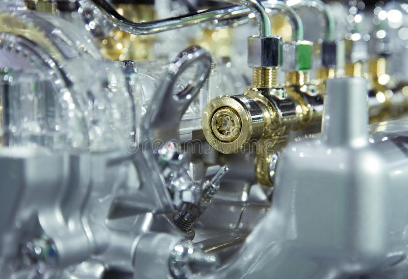 Car engine. Complex car engine with lots of details stock photos