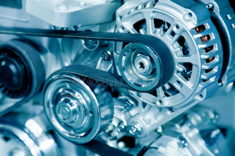Car engine. Complex engine of modern car royalty free stock image