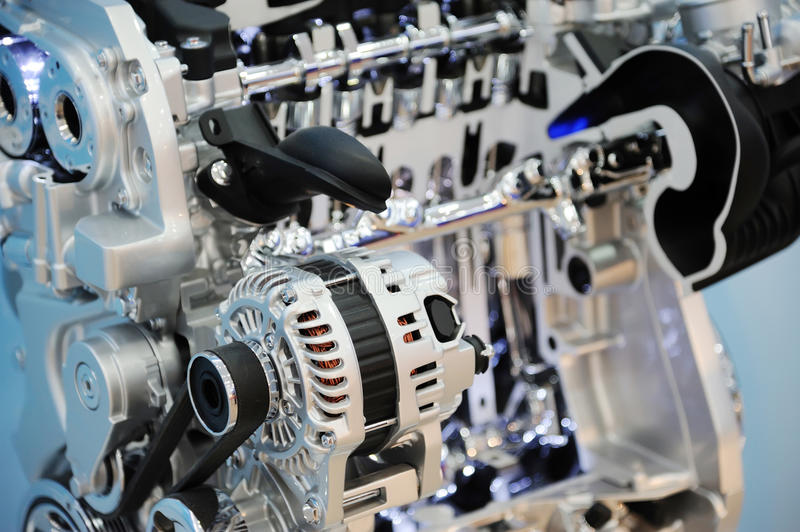 Car engine. Closeup of a new and shiny car engine stock photo