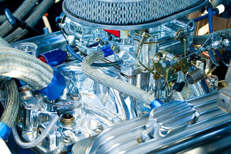 Engine of classic car stock images