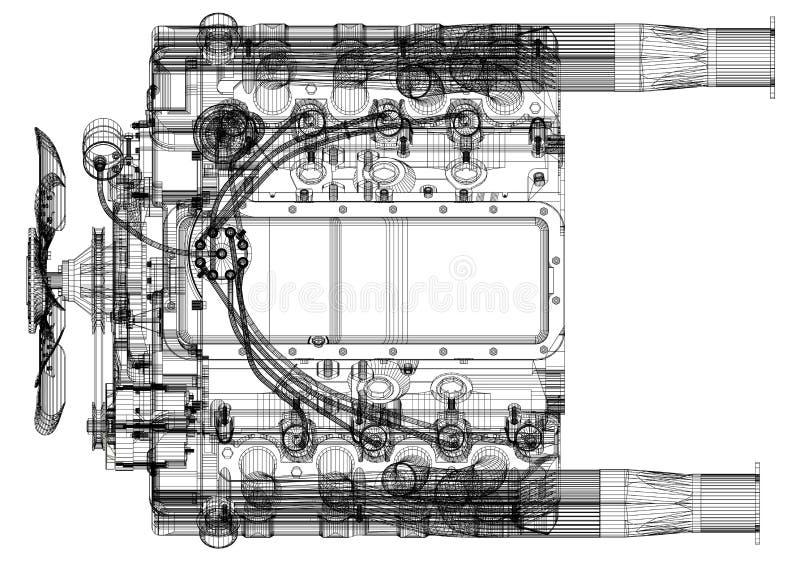 Car Engine Design Architect Blueprint - isolated vector illustration
