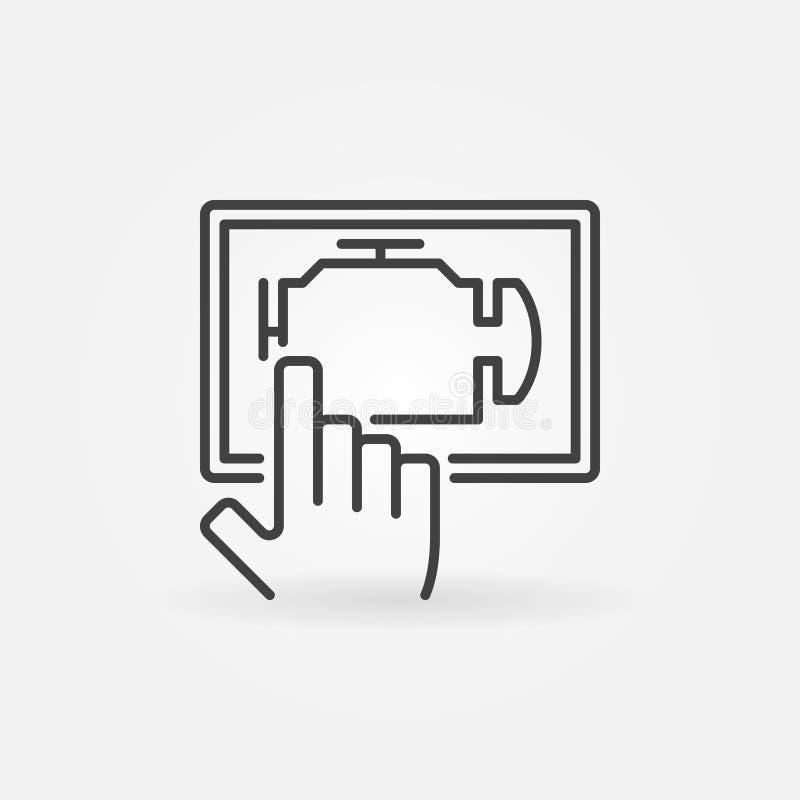 Car engine diagnostics via tablet royalty free illustration