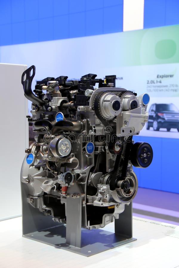 Car engine on display at the exhibition. Car engine on display at the Canadian International Auto Show 2012 in Toronto stock images
