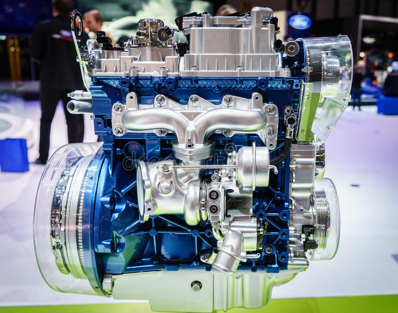 Car engine on display. Car engine at the 85th International Geneva Motor Show in Palexpo, Switzerland. Photo taken on: March 5th, 2015 royalty free stock images