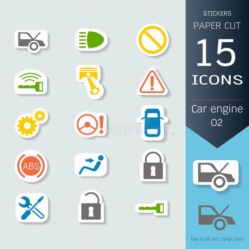 Car engine infographic icons set, Vector Illustrations stickers and paper cut style. Easy to editable and change, Separate background, Expand to any size royalty free illustration