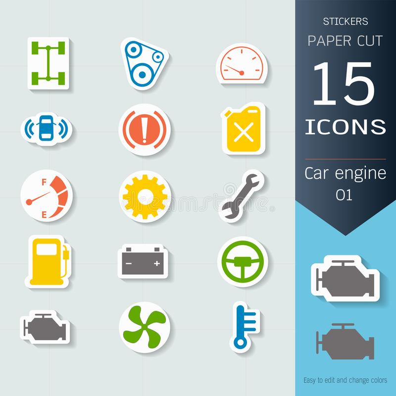 Car engine infographic icons set, Vector Illustrations stickers and paper cut style, Easy to editable and change. Separate background, Expand to any size vector illustration