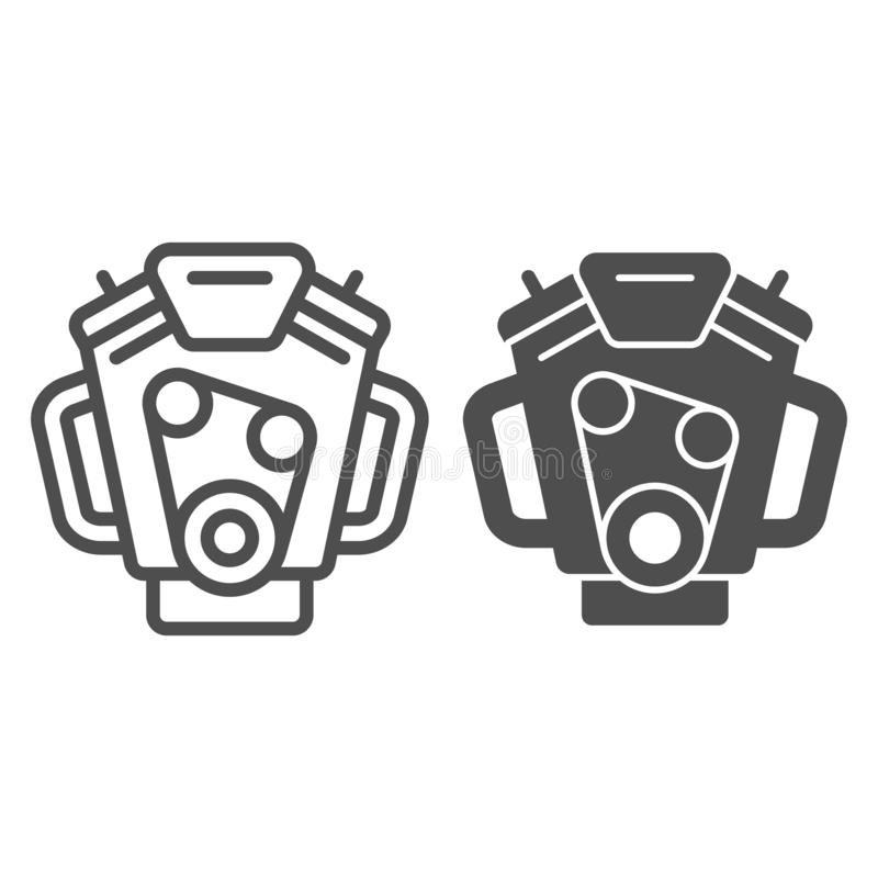 Car engine line and glyph icon. Motor vector illustration isolated on white. Mover outline style design, designed for. Web and app. Eps 10 royalty free illustration