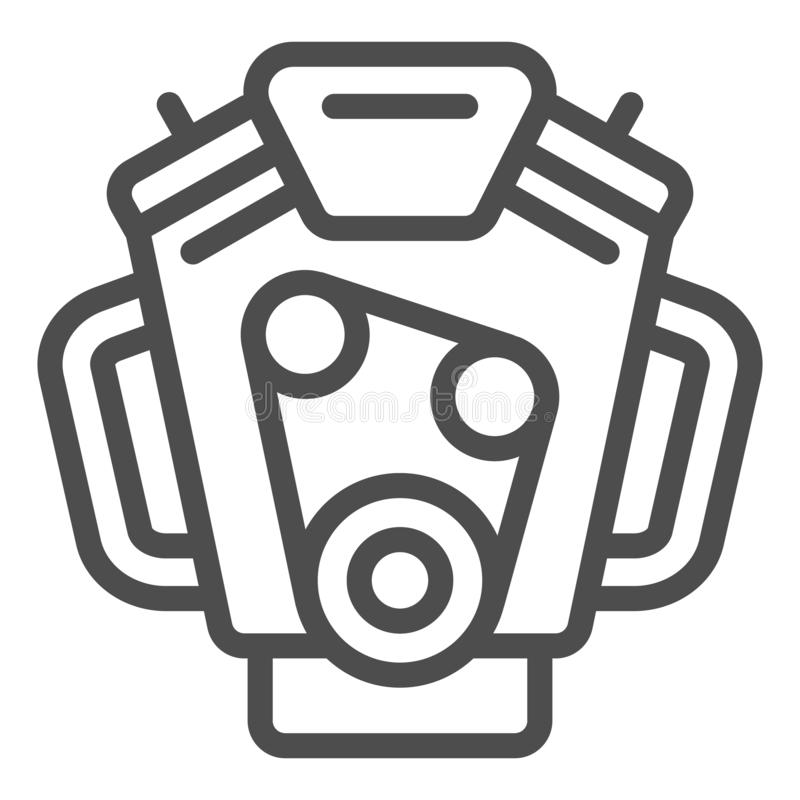 Car engine line icon. Motor vector illustration isolated on white. Mover outline style design, designed for web and app. Eps 10 royalty free illustration