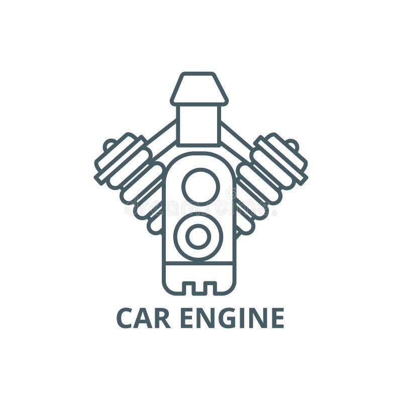 Car engine line icon, vector. Car engine outline sign, concept symbol, flat illustration royalty free illustration