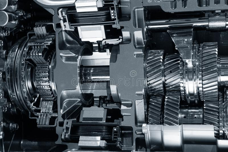Engine interior cog wheels. Car engine mechanics interior cog wheels royalty free stock images