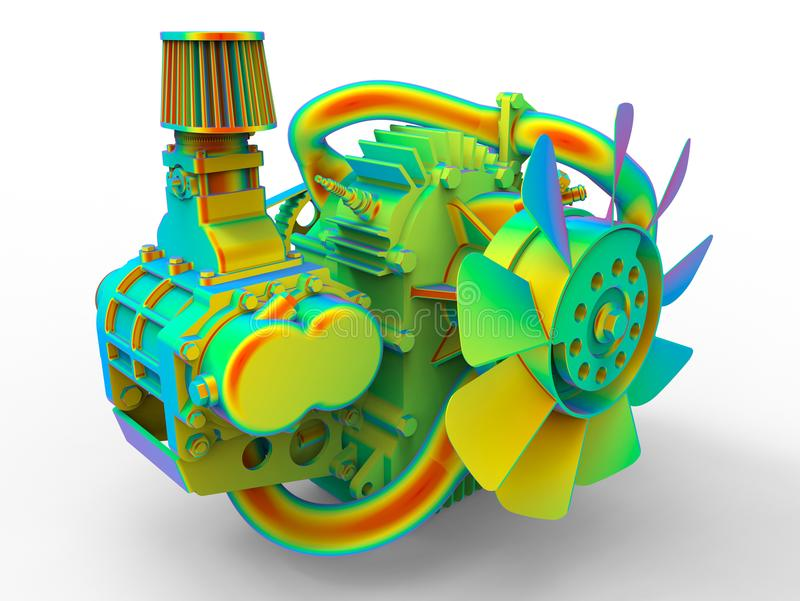 Car engine rainbow composition stock illustration