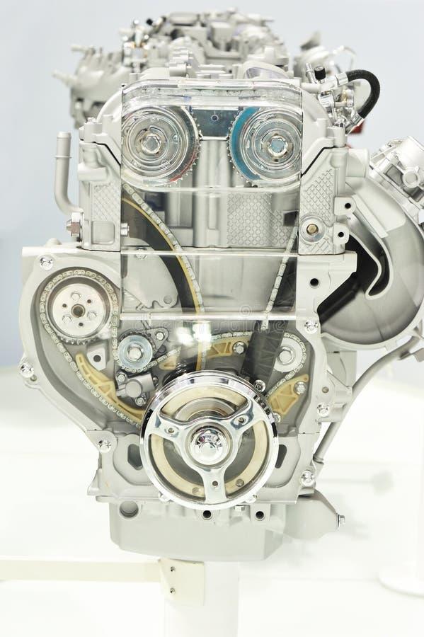 Car engine show. Closeup of new car engine show stock photography