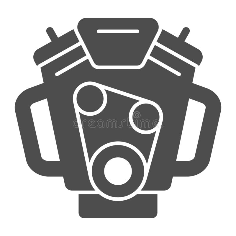 Car engine solid icon. Motor vector illustration isolated on white. Mover glyph style design, designed for web and app. Eps 10 stock illustration