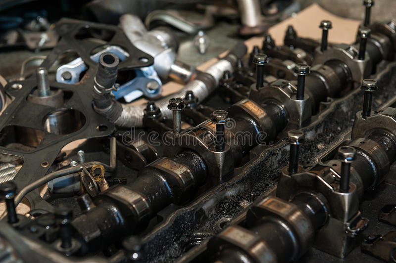 Car engine strokes. Details of a car engine strokes royalty free stock photos