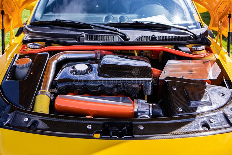 Car engine with tuning and modifications royalty free stock images