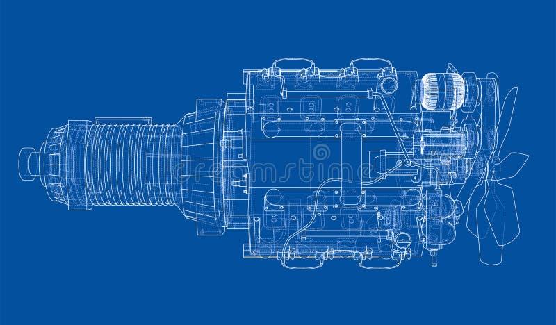 Download Car Engine. Vector Rendering Of 3d Stock Vector   Illustration Of  Blueprint, Background