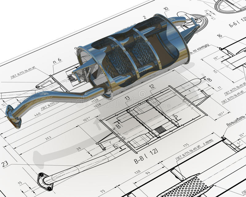 Car exhaust silencer on the drawing background stock for 3 dimensional drawing software