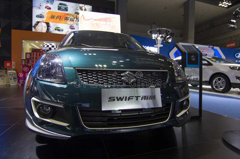 Car exhibition — SWIFT SUZUKI. The 2017 Chongqing lnternational Auto Consumption Exhibition.SWIFT SUZUKI front close-up. Photo taken April 10, 2017, in royalty free stock images
