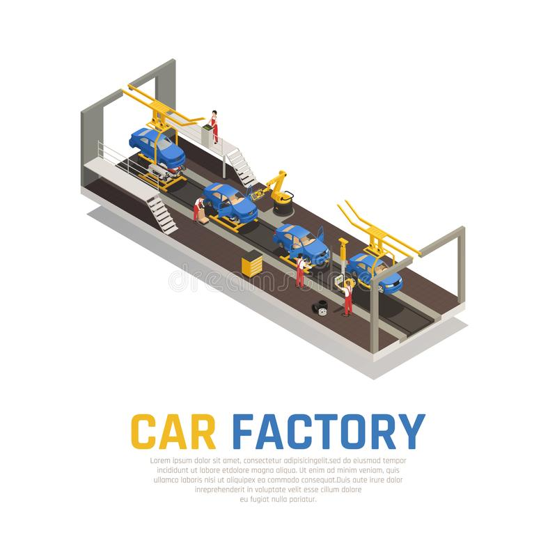 Car Factory Isometric Composition vector illustration