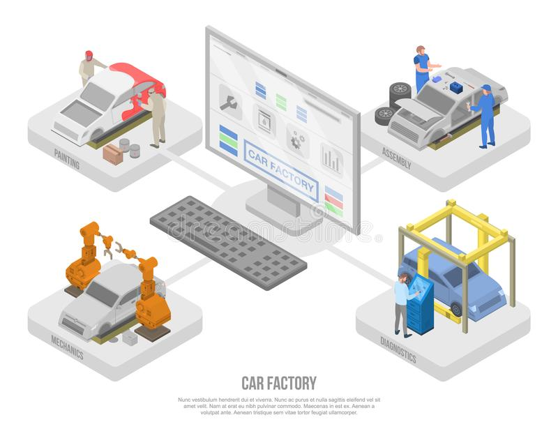 Car factory production concept banner, isometric style stock illustration