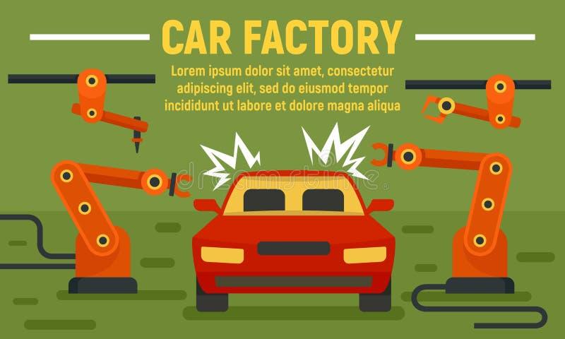 Car factory welder concept banner, flat style vector illustration