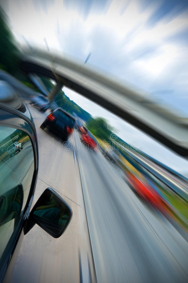 Car fast drive. On highway royalty free stock photos