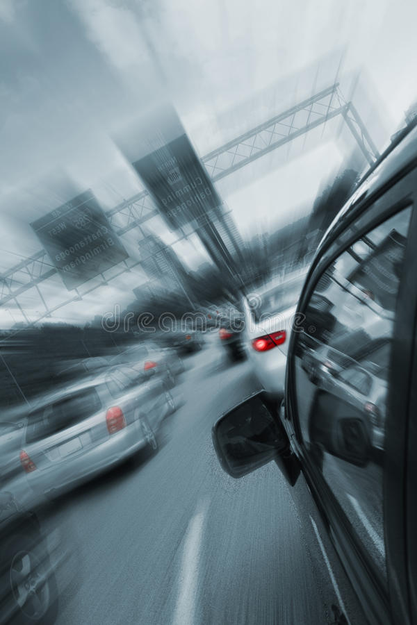 Car fast drive. On highway royalty free stock images