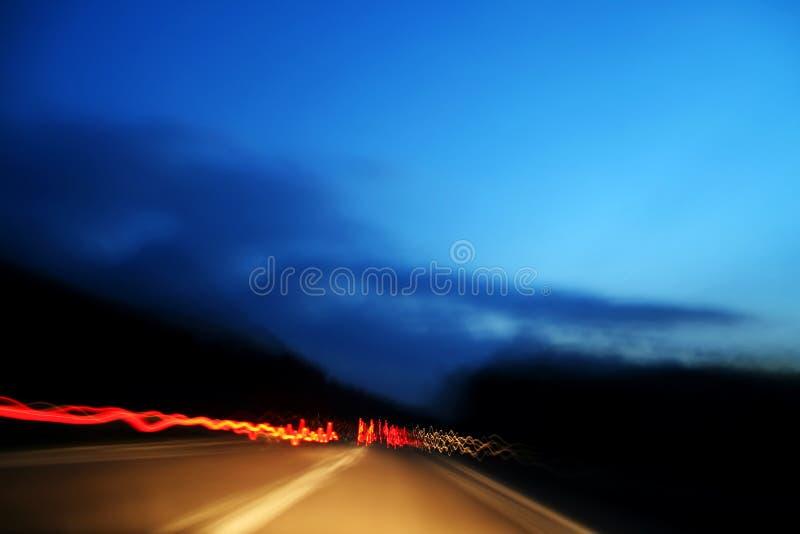 car fast highway lights made red στοκ φωτογραφία