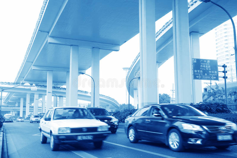 Car fast moving. Rushing car fast moving with bridge royalty free stock photos