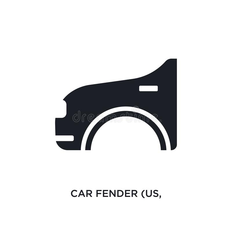 car fender (us, canadian) isolated icon. simple element illustration from car parts concept icons. car fender (us, canadian) royalty free illustration