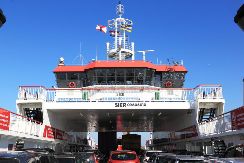 Car Ferry between dutch Holwerd and Ameland Island royalty free stock images