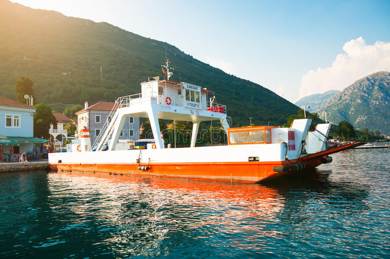 Car ferry linking the towns of Herceg Novi and Kotor across the Bay royalty free stock photo