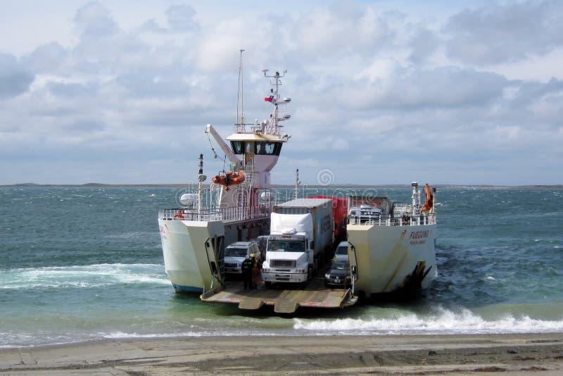 Chili, Car Ferry Straits of Magellan National Routes 257 - Punta Delgada - Bahía Azul. Car ferry slide-cars Straits of Magellan - National Routes 257 - Chile royalty free stock images