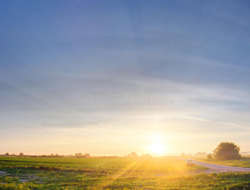 Download Car in field on sunset stock image. Image of landscape - 20575267