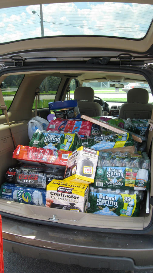 Car Filled with Household Items. Mini van full of items after shopping royalty free stock photo