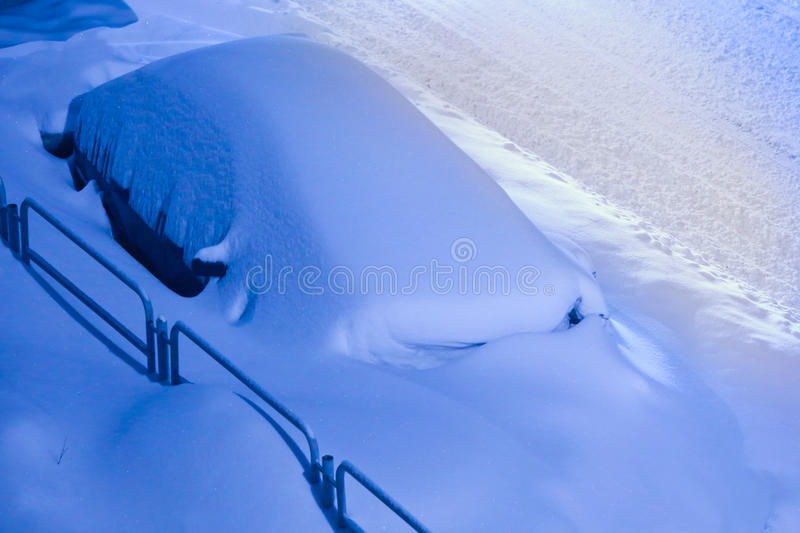Car filled up with snow royalty free stock photo