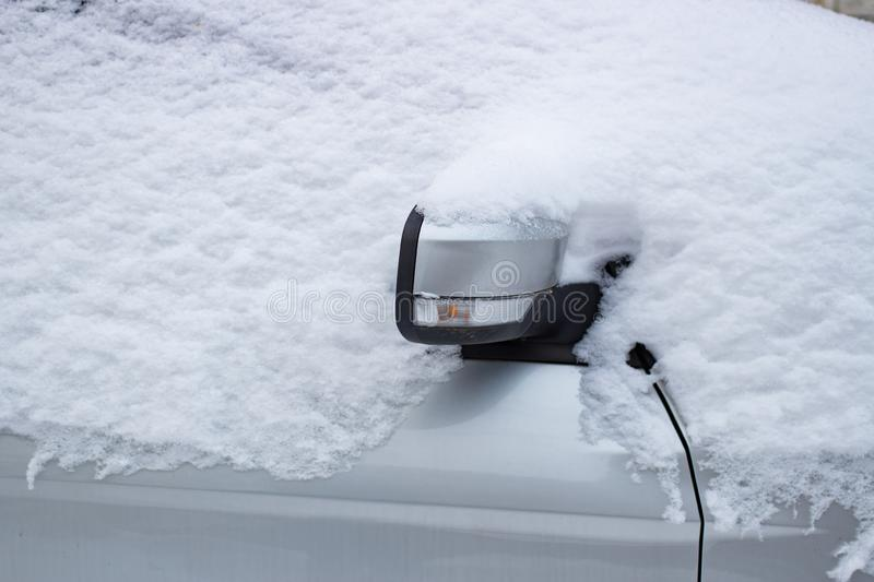 The car filled up by snow in the winter royalty free stock photo