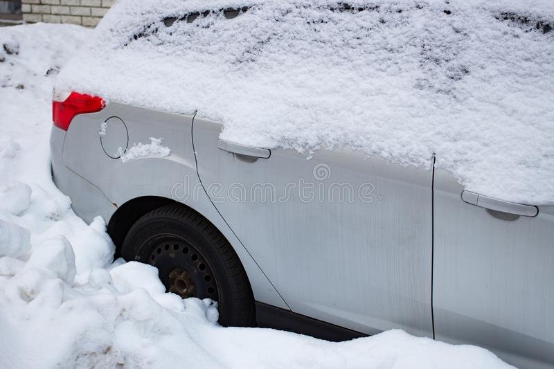 The car filled up by snow in the winter royalty free stock photos