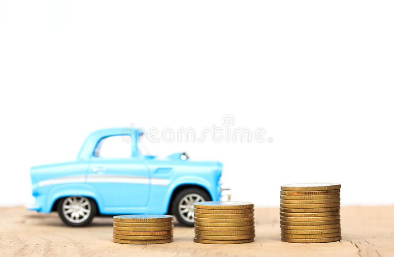 Car finance money stack. With white background stock image
