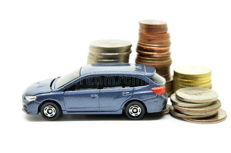Car finance with money stack. On white background stock photos
