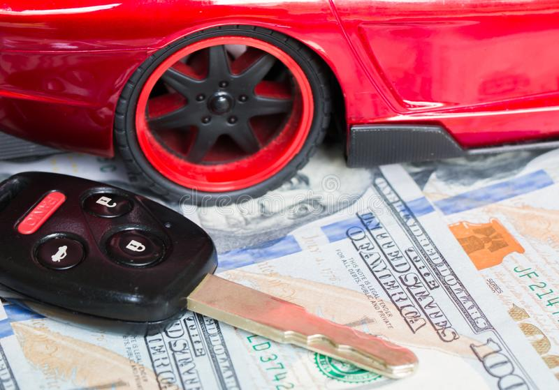 Car financing and sales for a dealership. Car financing and sales for a dealership showing united states currency royalty free stock photography