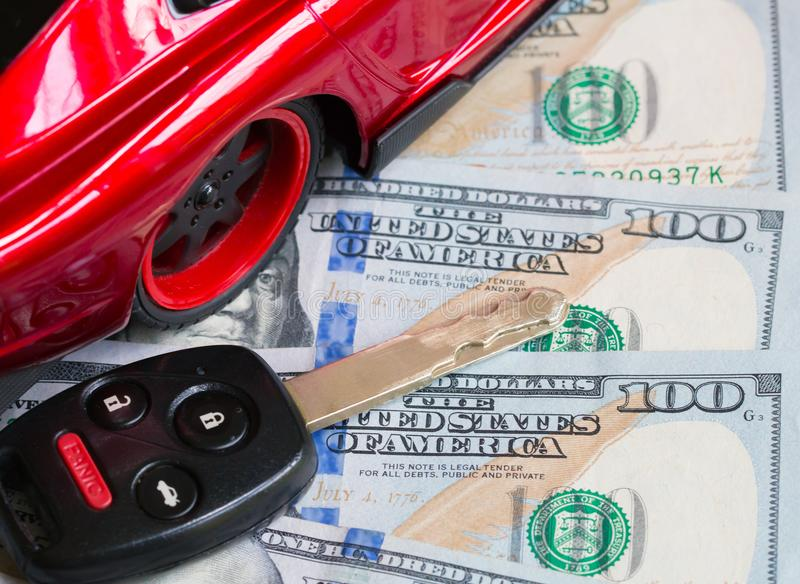 Car financing and sales for a dealership. Car financing and sales for a dealership showing united states currency royalty free stock images