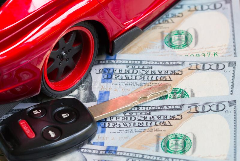Car financing and sales for a dealership. Car financing and sales for a dealership showing united states currency stock image
