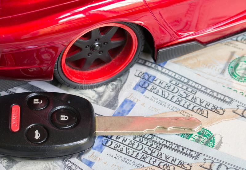 Car financing and sales for a dealership. Car financing and sales for a dealership showing united states currency royalty free stock image
